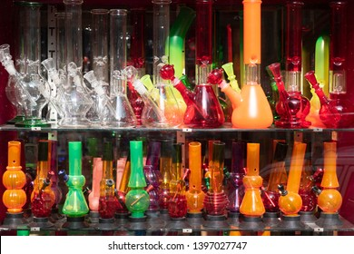 Colorful smoking equipment made of glass   for sale in shop