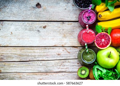 Colorful smoothies : green, purple and red with ingredients for Healthy eating , detox or diet food concept