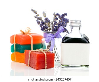 colorful Soap Bars on white background.