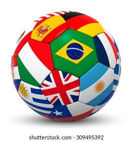 Colorful Soccer Ball with International Flags and the Following World Champions in Focus - Brazilian, Argentina, Germany, Spain, France, England, Italy, Uruguay - 3D Rendering with White Background