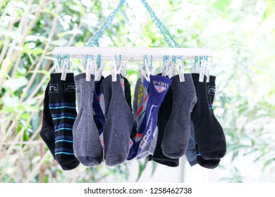 colorful socks on clothespin. Circle clothespin.