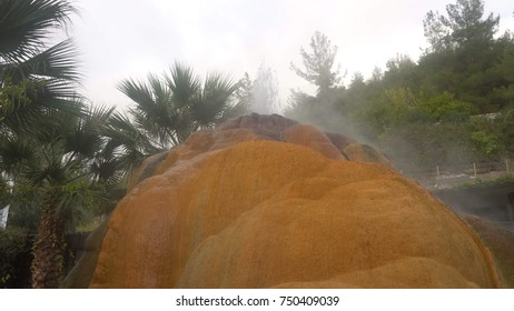 Colorful soil of Analavory geysers . turkey