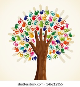 Colorful solidarity isolated conceptual tree.