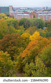 Colorful Solna in autumn, a part of Stockholm, Sweden