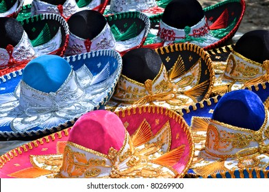 Colorful sombreros for sale at a market in Mexico.