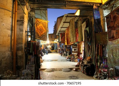 The colorful souk in the old city of Jerusalem Israel