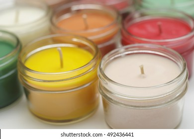 colorful soy candles
