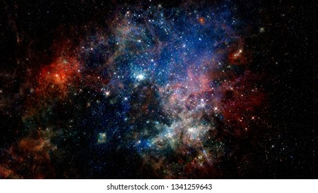 Colorful space nebula. Beauty galaxy. Elements of this image furnished by NASA.
