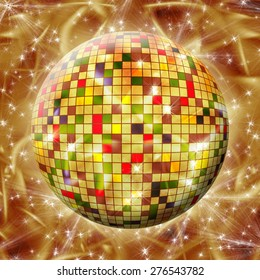 Colorful Sphere with colored squares on abstract gold background