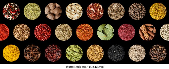 Colorful spice collage on black background