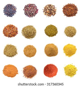 Colorful spices collection isolated on white background