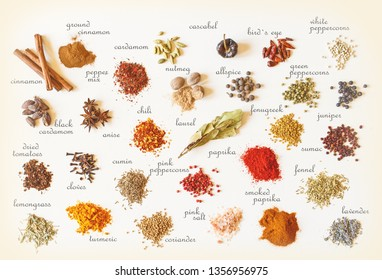 Colorful spices for cooking food on old vintage background with tags.