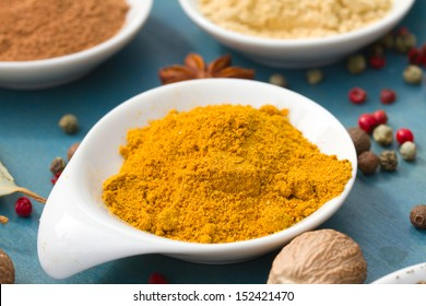colorful spices of cucurma on blue table