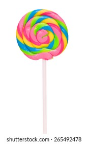 Colorful spiral lollipop isolated on white background