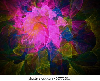 Colorful spiral , snail . Undulating strokes . Riot of colors .