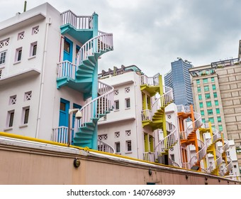 Colorful spiral stairs and colorful urban of Singapore's Bugis Village. Is a landmark of tourists