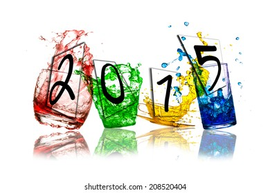 colorful splashes out drink from glass on a white background, New year 2015.