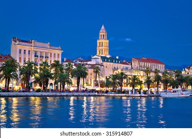 Colorful split waterfront evening view, Dalmatia, Croatia