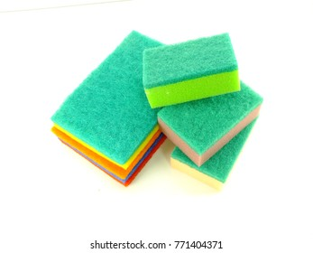colorful of sponge dish washing accessories on white background