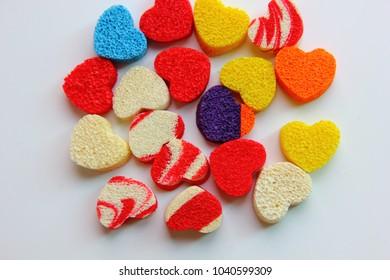 colorful sponge sheet  cutting in many heart pattern