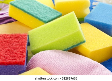 Colorful sponges in detail as background