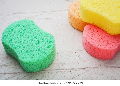 colorful sponges for washing