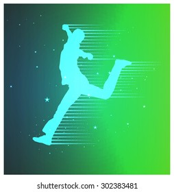 Colorful sport banner with silhouette of winner man. Green and blue tones.
