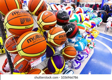 Colorful sports balls inside Sportmaster Sport Store