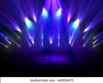Colorful spotlights shining on a stage