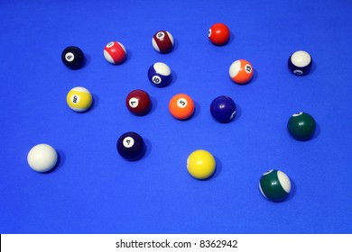 Colorful spots and stripes pool balls on a blue table.