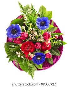 colorful spring flowers bouquet. tulip, anemone, ranunculus