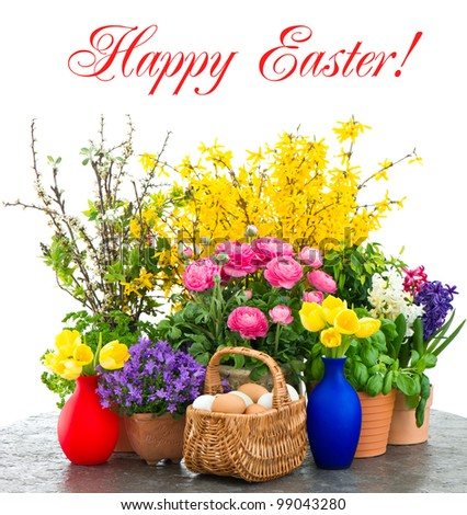 Colorful Spring Flowers Easter Eggs Decoration Stock Photo Edit Now
