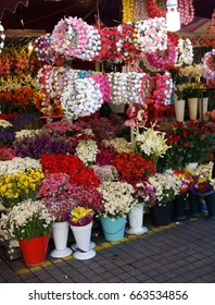 Colorful spring flowers  in a garden market in Taksim Square  in Istanbul, Turkey