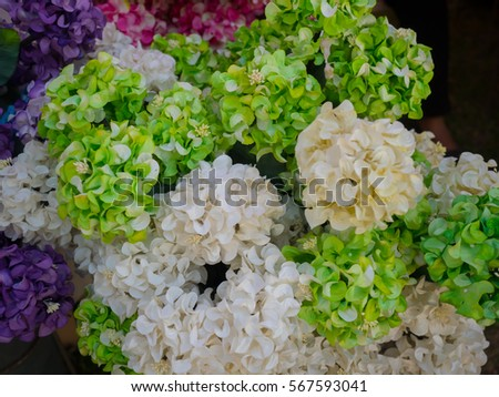Colorful Spring Flowers Hydrangea Artificial Flowers Stock Photo