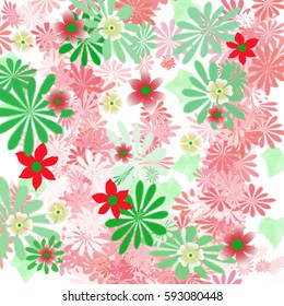 colorful spring flowers scattered on white illustration