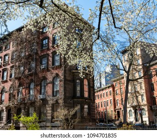 Colorful spring scene in the East Village of New York City with historic buildings on Stuyvesant Street