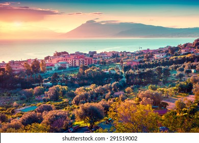 Colorful spring sunset in the Solanto village, Mediterranean sea, province Palermo, Sicily, Italy, Europe. Instagram toning.