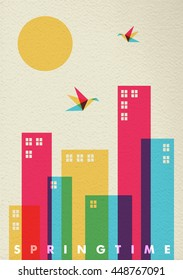 Colorful spring time concept design with modern city elements, birds and sun on retro texture background.