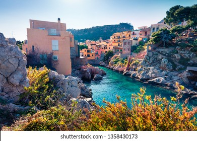 Colorful spring view of Sant'Elia village. Amazin azure water bay on Sicily, Palermo city location, Italy, Europe. Traveling concept background.