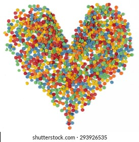 Colorful sprinkle shaped heart isolated on white background