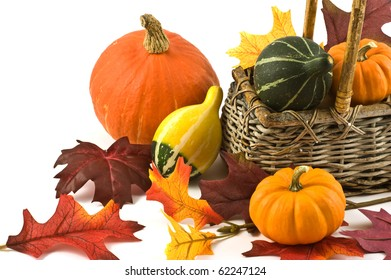 Colorful squash and mini pumpkins with fabric fall leaves for a harvest theme