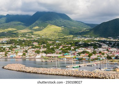 Colorful St Kitts twon in the Caribbean