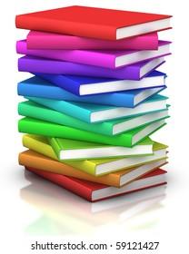 colorful stack of books  - 3d illustration/rendering