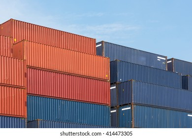 Colorful stack pattern of cargo shipping containers in shipping yard for import,export industrial