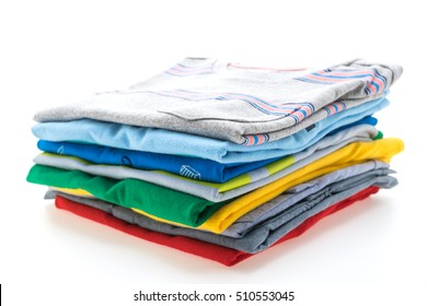 Colorful Stack of T Shirts and Polo shirts isolated on white background