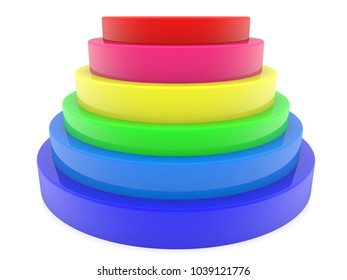 Colorful stacked tubes.3d illustration