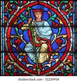 Colorful stained glass window in Cathedral Notre Dame de Paris