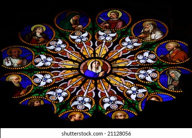 colorful stained-glass window in catholic cathedral