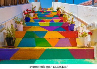 Colorful stairs In the street in Tunis, Tunisia