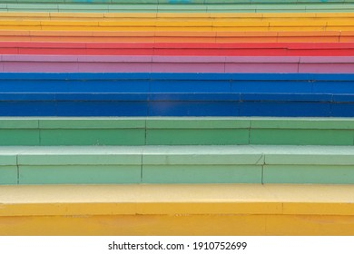 Colorful stairs and colorful wall background